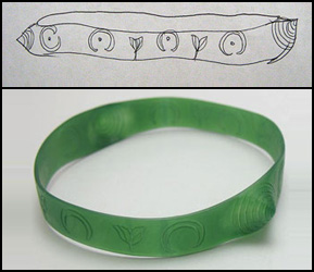 Example of custom work done by Binar Silver: wax carved bracelet with details.