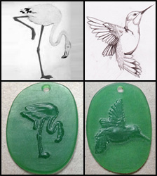 Example of custom work done by Binar Silver: wax carved pendant with detailed image.