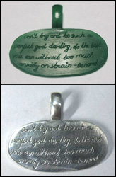 Example of custom work done by Binar Silver: wax carved pendant with handwriting text.